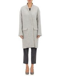 Nili Lotan Oversized Double Faced Basket Weave Coat Grey