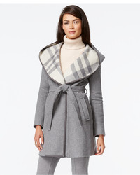 DKNY Plaid Hood Belted Coat