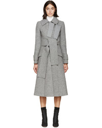 Proenza Schouler Grey Wool Tie Coat