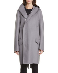 Rick Owens Slab Hooded Long Wool Nylon Coat
