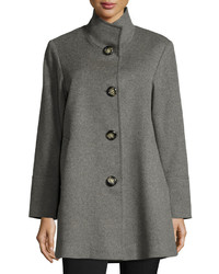 Fleurette Stand Collar Wool Cashmere Coat Gray