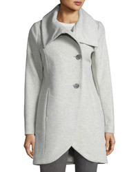 T Tahari Tulip Hem Wool Blend Coat Light Gray