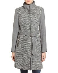 Vince Camuto Boucl Front Belted Wool Blend Coat
