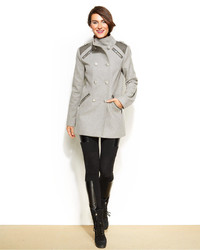 Vince Camuto Faux Leather Trim Double Breasted Military Coat