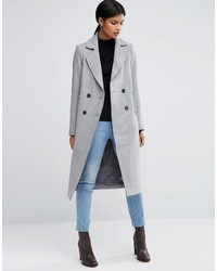 Asos Wool Blend Coat With Raw Edges And Pocket Detail