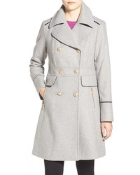 Wool blend double breasted officers coat medium 352256