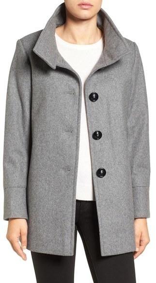 Larry Levine Wool Blend Swing Coat