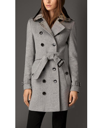 Burberry Wool Cashmere Trench Coat With Rabbit Topcollar