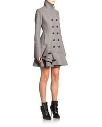 Alexander McQueen Wool Ruffle Coat