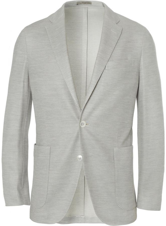 ... Boglioli Dover Slim Fit Unstructured Knitted Cotton And Silk Blend  Blazer ...