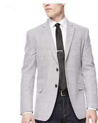 JF J.Ferrar Jf J Ferrar Grey Herringbone Sport Coat Slim Fit