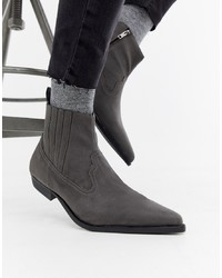64913c57cfb5 ... Black Faux Leather  36 · ASOS DESIGN Cuban Heel Western Chelsea Boots  In Grey Faux Suede