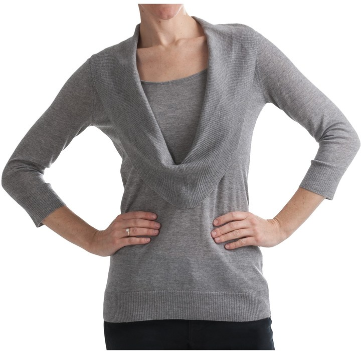 1fb6caed736 ... Belford Draped Merino Wool Sweater Cowl Neck 34 Sleeve ...