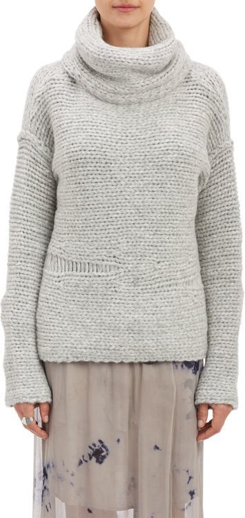 Raquel Allegra Chunky Knit Cowl Neck Sweater Grey | Where to buy ...