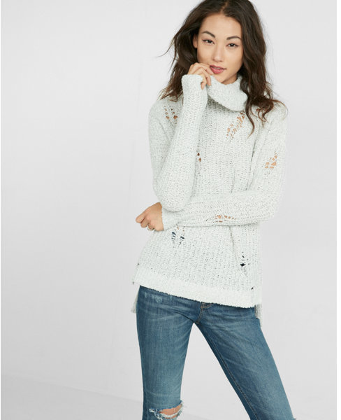 Express Distressed Knit Cowl Neck Tunic Sweater | Where to buy ...