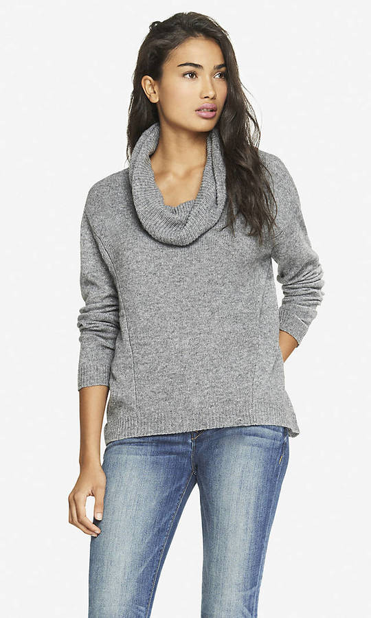 Express Oversized Cowl Neck Slanted Seam Sweater | Where to buy ...