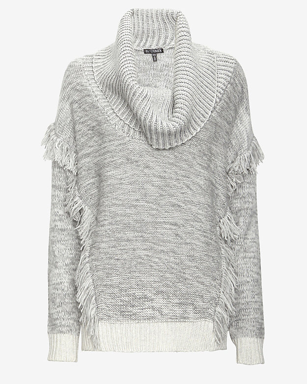 Exclusive for Intermix For Intermix Cowl Neck Fringe Sweater ...