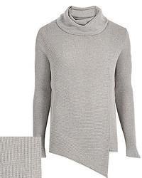 River Island Grey Cowl Neck Asymmetric Sweater