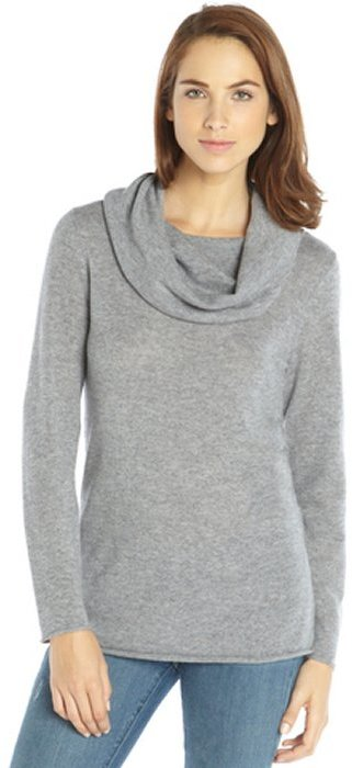 Magaschoni Grey Melange Cashmere Cowl Neck Sweater | Where to buy ...