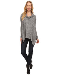 Mod-o-doc Heather Sweater Long Sleeve Cowl Neck Pullover W Contrast Sleeve