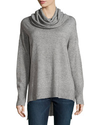 Oversized Cowl Neck High Low Sweater Fog Gray