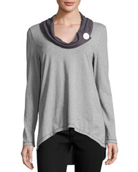 Pure & Co. Pure Co Cowl Neck Pullover Top Dark Gray