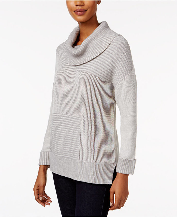 Styleco Style Co Striped Ribbed Cowl Neck Sweater Only At Macys