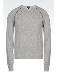 Armani Jeans Crew Neck Jumper In Wool Blend With Eco Leather Details