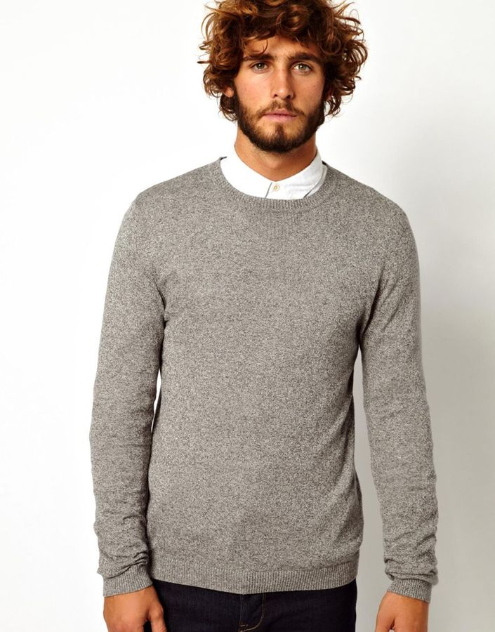 Asos Brand Crew Neck Sweater In Gray Cotton | Where to buy & how ...