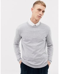 ASOS DESIGN Cotton Jumper In Light Grey