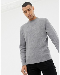 Tommy Hilfiger Cotton Mesh Textured Crew Neck Knit Jumper Icon Logo In Charcoal Marl