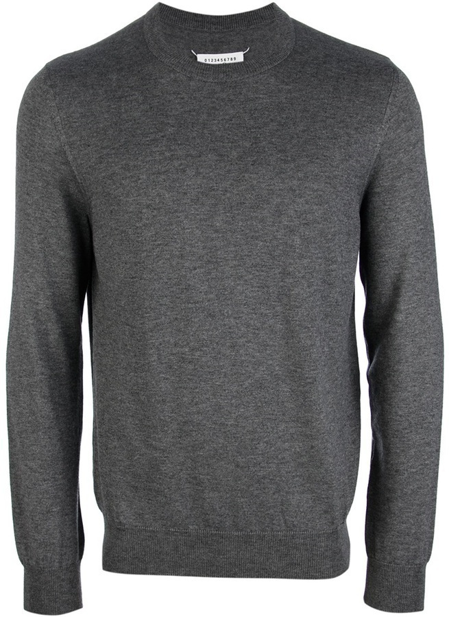Maison Martin Margiela Crew Neck Elbow Patch Sweater
