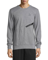 Puma Crewneck Pullover Sweater Medium Heather Gray