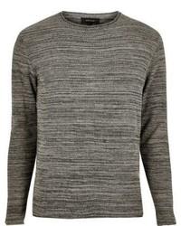 River Island Dark Grey Knitted Crew Neck Sweater