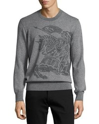 Burberry Equestrian Knight Cashmere Sweater Light Gray Melange