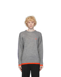 Loewe Grey And Purple Anagram Embroidered Sweater