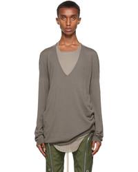 Rick Owens Grey Cashmere Deep V Neck Sweatshirt