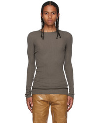 Rick Owens Grey Cashmere Ribbed Sweater