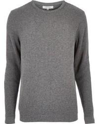 River Island Grey Long Sleeve Waffle Texture Sweater