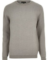 River Island Grey Textured Knitted Crew Neck Sweater