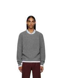 Thom Browne Grey Waffle Wool Relaxed Fit Crewneck Sweater