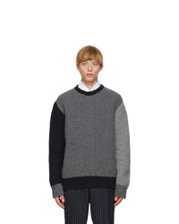 Thom Browne Grey Wool Collaged Links Stitch Sweater