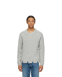 Maison Margiela Grey Wool Oversized Destroyed Sweater