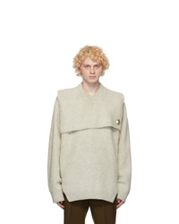 Jil Sander Grey Wool Pin Sweater