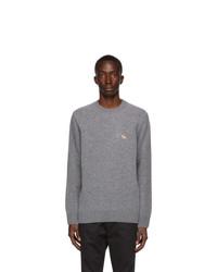 MAISON KITSUNÉ Grey Wool Profile Fox Sweater
