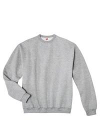Hanes Premium Fleece Crew Neck Sweatshirt Grey Heather S