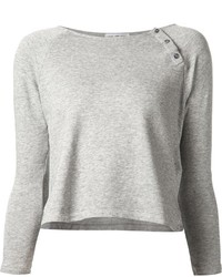 James Perse Cropped Buttoned Sweatshirt