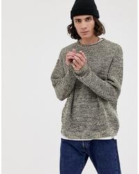 ASOS DESIGN Knitted Oversized Rib Jumper In Ecru Twist