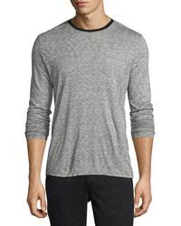 ATM Anthony Thomas Melillo Long Sleeve Melange Ringer T Shirt Charcoal
