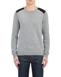 Rag and Bone Rag Bone Suede Shoulder Pullover Sweater Grey